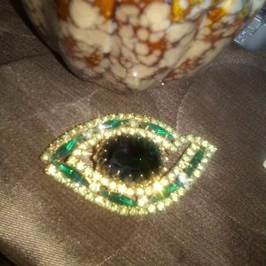Judy Lee Eye Emerald Rhinestone Brooch